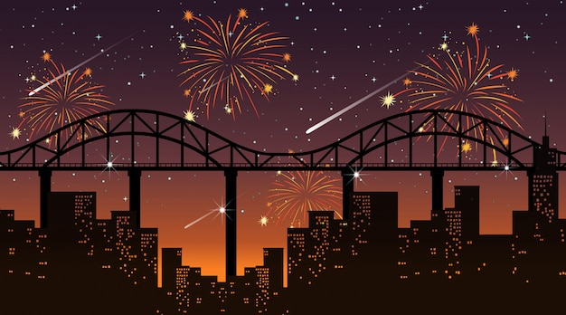 Cityscape with celebration fireworks scene Free Vector