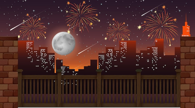 Cityscape with celebration fireworks view from the bridge Free Vector