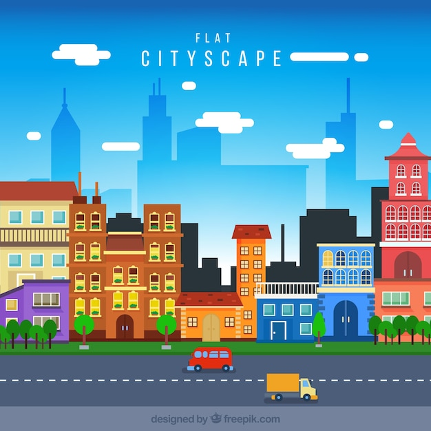 Cityscape with colored houses in flat design Free Vector