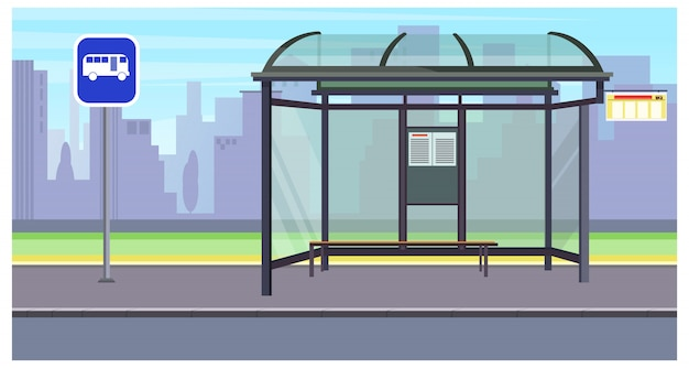 Cityscape with empty bus stop and sign illustration Free Vector
