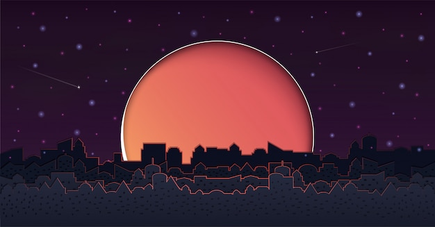 Cityscape with group of skyscrapers in the night. Premium Vector