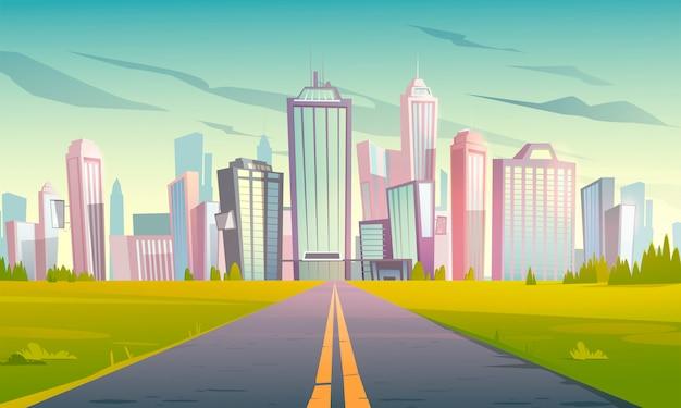 고속도로로와 도시 풍경 무료 벡터