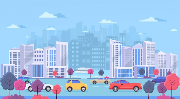 大規模な近代的な建物、都市交通、路上の交通、色の木や川のある公園のある街並み。青色の背景に車で高速道路。 Premiumベクター
