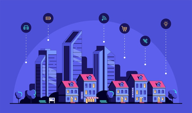 Cityscape with modern residential houses and icons. Premium Vector