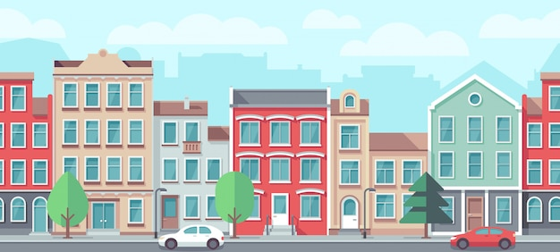 Cityscape with old apartment houses. Premium Vector