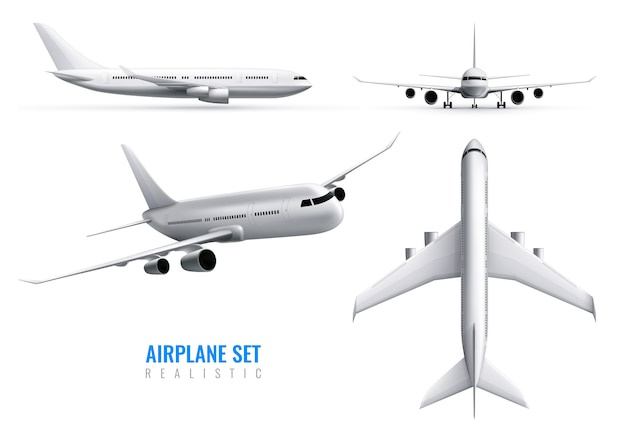 Civil aircraft realistic identity set of white airplane in top side and front views isolated Free Vector