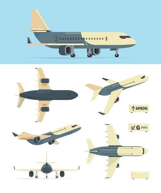 Самолет гражданской авиации. модель различных самолетов рассматривает собрание самолетов. самолет авиации, гражданский самолет, самолет для пассажирской иллюстрации Premium векторы