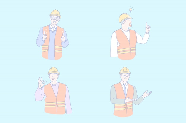 Civil engineer working illustration Premium Vector