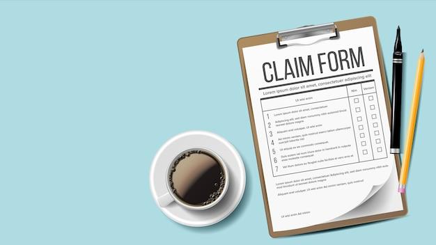 Claim form. Premium Vector