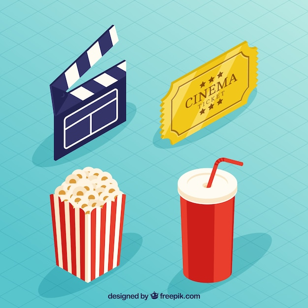 clapboard and other film elements in isometric design vector free