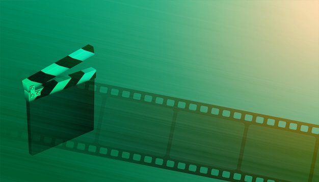 Clapper board with film reel cinema movie background Free Vector
