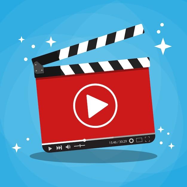 ビデオwebストリーミングプレーヤーを備えたカチンコ Premiumベクター