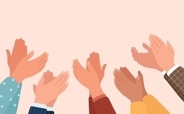 Clapping hands, different people applaud. Premium Vector