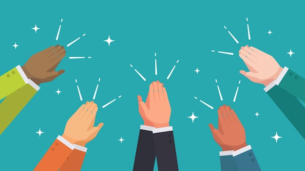 Clapping hands from ethnic group of business people vector Premium Vector