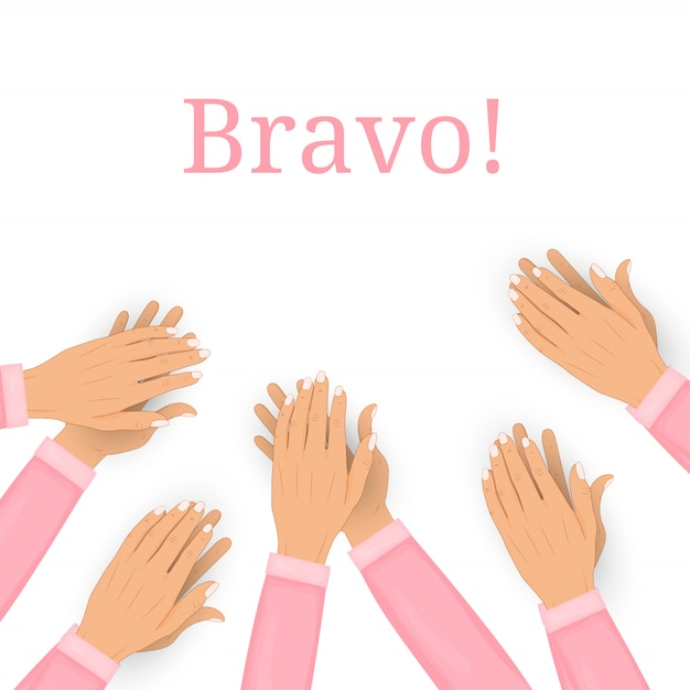 Clapping human hands isolated on white background. applause, bravo. Premium Vector