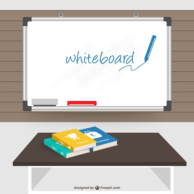 Clasroom with books and a whiteboard Free Vector