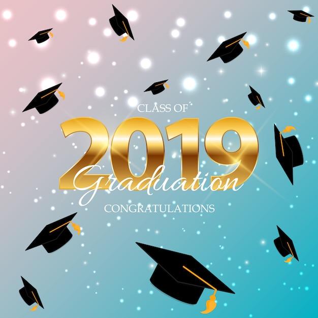 Class of 2019  graduarion education background. Premium Vector