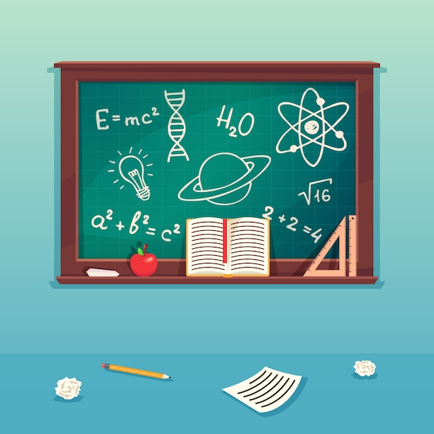 Class blackboard with chalk piece and school supplies. Premium Vector