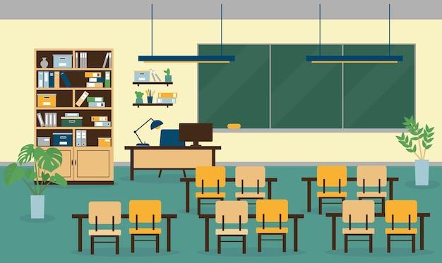 教室のインテリア、家具、コンピューター、ランプ、教育委員会、工場。図。 Premiumベクター