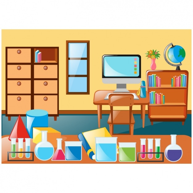 Class Scene With Furniture And Accessories Vector Free
