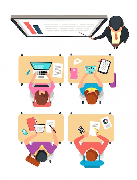 クラスのトップビュー。学生と教師が黒板に大学の教室で学習ベクトルイラスト Premiumベクター