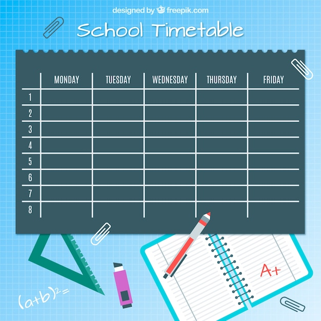 Classes timetable, pens and notebook