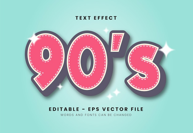 Classic 90's font effect Premium Vector