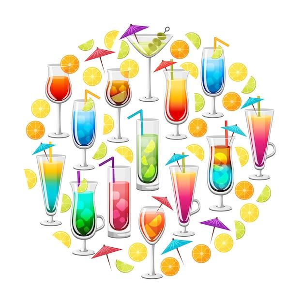 Classic alcohol cocktails round design Free Vector
