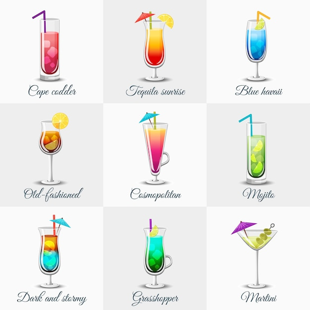 Classic alcohol cocktails set Free Vector