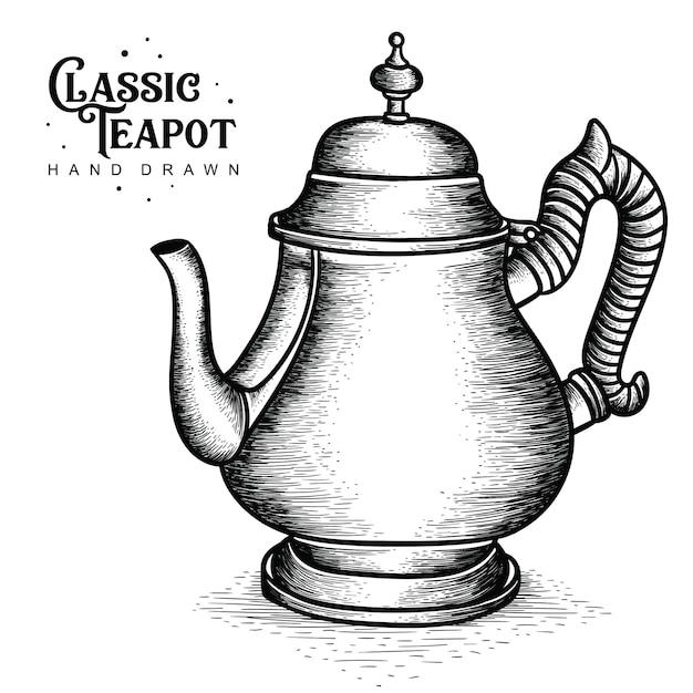 Classic aluminum teapot Premium Vector