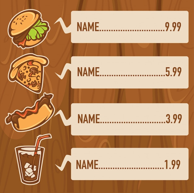 Classic american fastfood on wooden  for your menu Premium Vector