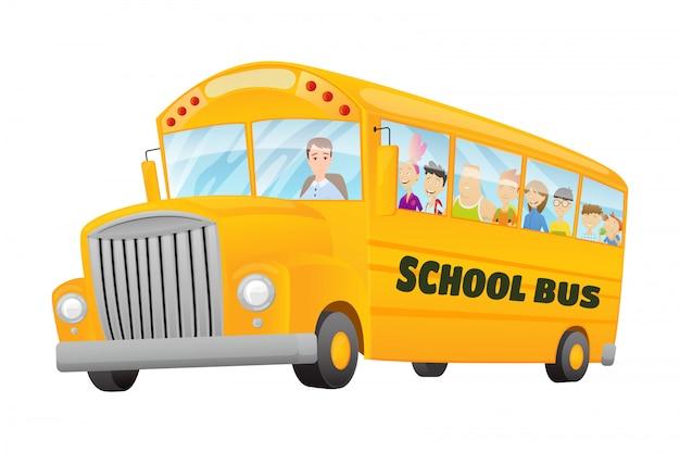 Классический американский старый школьный автобус. дети едут на школьном автобусе. свободное путешествие. цветной школьный баннер Premium векторы
