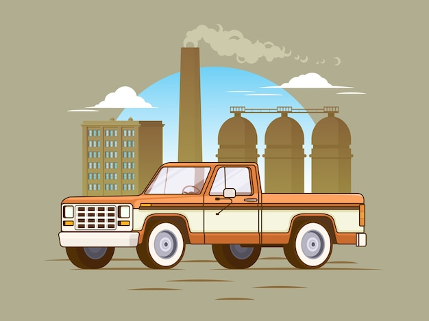 Classic american pickup truck concept Free Vector
