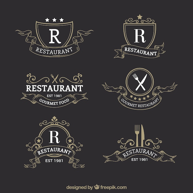 Classic and elegant restaurant logotypes