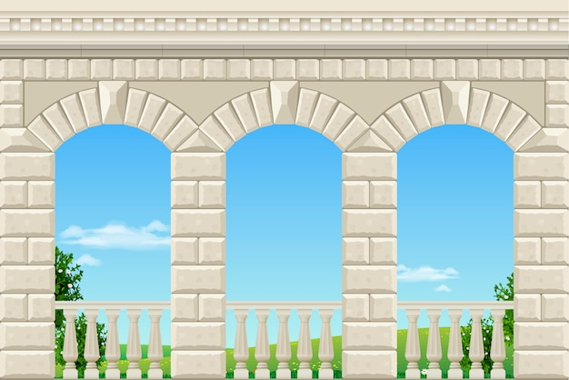 Classic arch of the palace Premium Vector