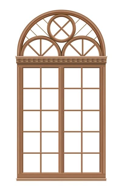 教会や城のための中世風の古典的なアーチ型の木の窓。 Premiumベクター
