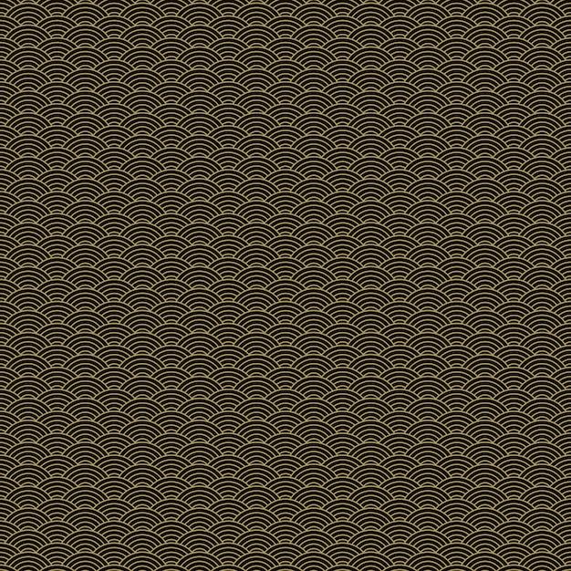 Modello senza cuciture squama dorato e nero asiatico classico per industria tessile, progettazione del tessuto. Vettore gratuito