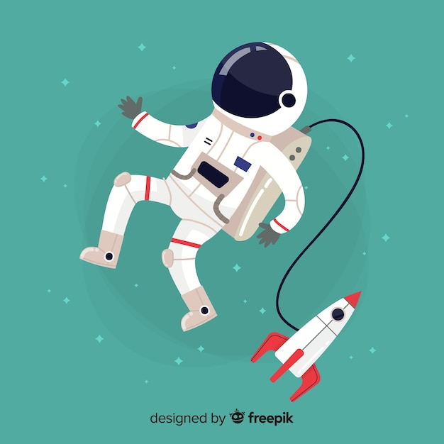 Classic astronaut character with flat design Free Vector