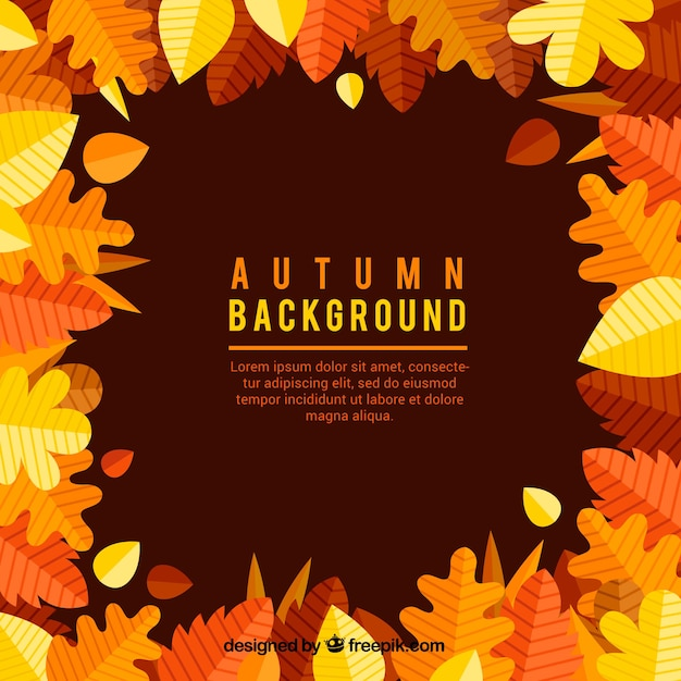 Classic autumn background with leaves