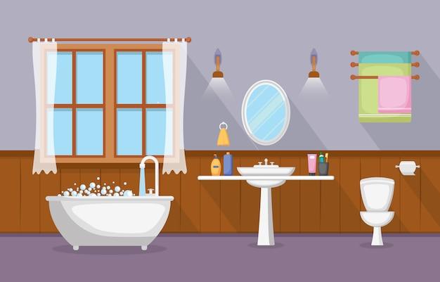 Classic bathroom interior clean room wooden accent furniture flat design Premium Vector