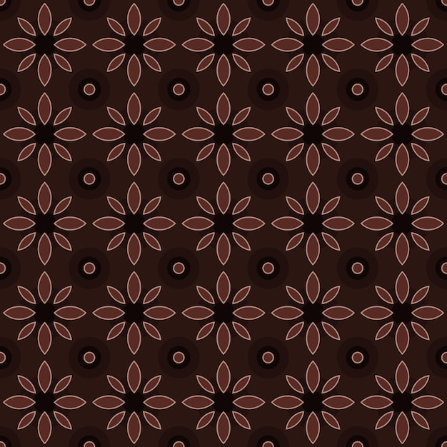 Classic batik seamless pattern background. luxury geometric mandala wallpaper. elegant traditional floral motif in brown color Premium Vector