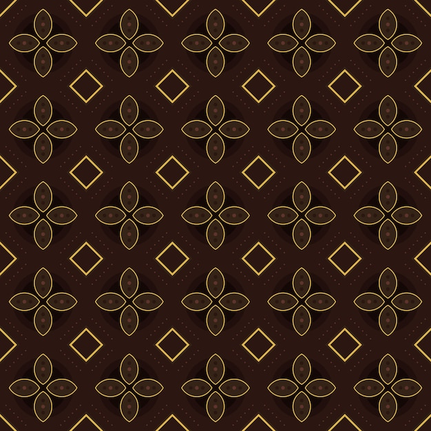Classic batik seamless pattern background. luxury geometric mandala wallpaper. elegant traditional floral motif in brown color Premium Vector