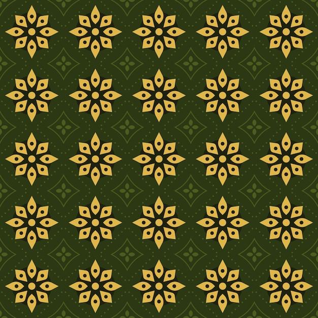 Classic batik seamless pattern background. luxury geometric mandala wallpaper. elegant traditional floral motif in green color Premium Vector
