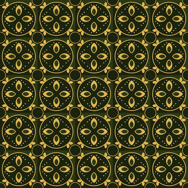 Classic batik seamless pattern background. luxury geometric mandala wallpaper. elegant traditional floral motif in green color Premium Vector