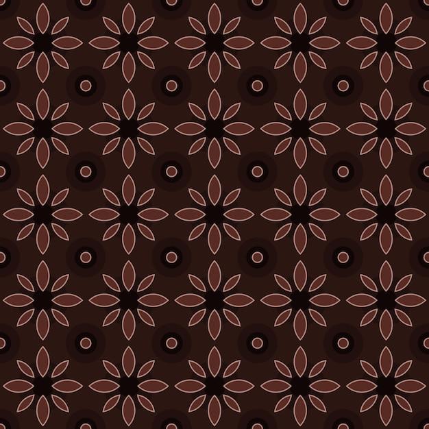 古典的なバティックのシームレスなパターン背景。豪華な幾何学的なマンダラの壁紙。茶色のエレガントな伝統的な花のモチーフ Premiumベクター