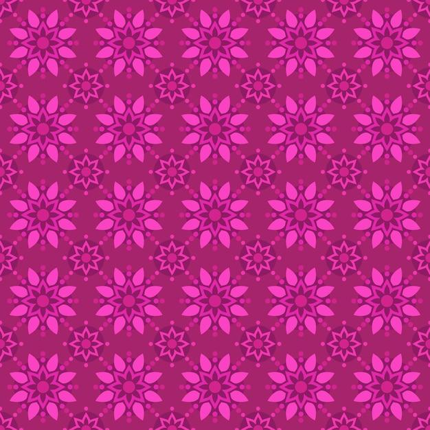 古典的なバティックのシームレスなパターン背景。豪華な幾何学的なマンダラの壁紙。ピンク色のエレガントな伝統的な花のモチーフ Premiumベクター