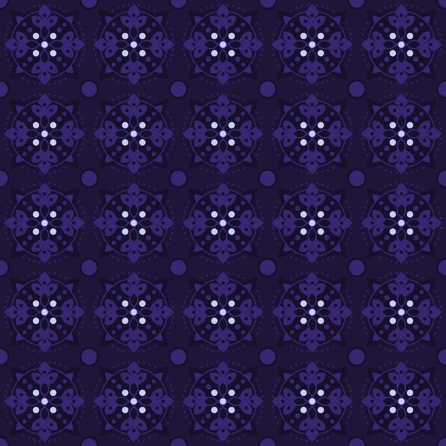 古典的なバティックのシームレスなパターン背景。豪華な幾何学的なマンダラの壁紙。紫色のエレガントな伝統的な花のモチーフ Premiumベクター