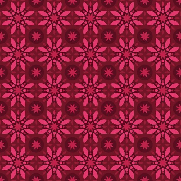 Classic batik seamless pattern background. luxury geometric mandala wallpaper. elegant traditional floral motif in red maroon burgundy color Premium Vector