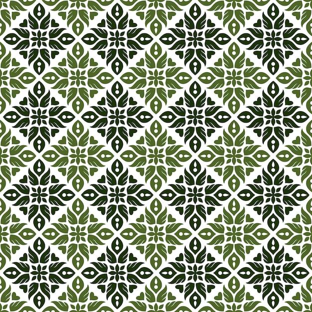 古典的なバティックのシームレスなパターン背景。豪華な葉のマンダラの壁紙。エレガントな伝統的な花のモチーフ Premiumベクター