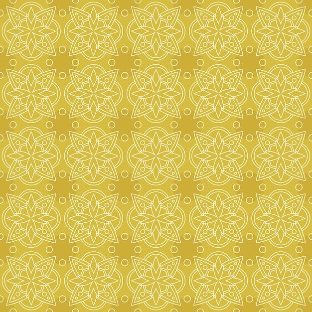 古典的なバティックのシームレスなパターン背景。豪華な葉曼荼羅の壁紙エレガントな伝統的な花のモチーフ Premiumベクター